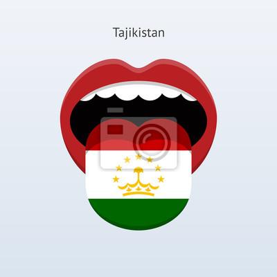 Tadschikistan Sprache. Abstrakt menschliche Zunge.