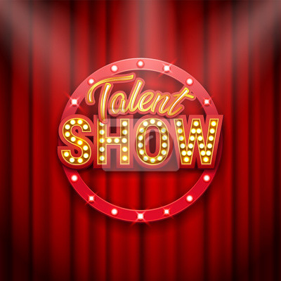 Bild Talent show banner, poster, gold inscription on red curtain