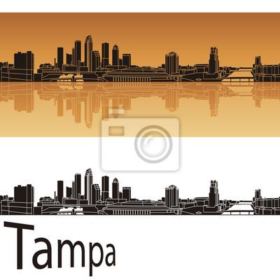 Bild Tampa Skyline in orangefarbenen Hintergrund