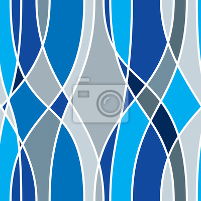 Tangled curvy lines seamless pattern, vector repeat endless background, artistic stripes trendy tiling wallpaper motif. Usable for fabric, wallpaper, wrapping, web and print. Blue color sample swatch.
