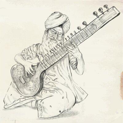 Bild Tanpura Player - vector illustration (converted)