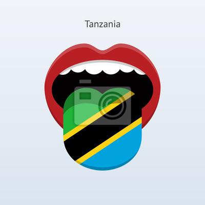 Tansania Sprache. Abstrakt menschliche Zunge.