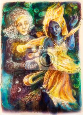 Tanzen blauen Geist und Visionär Frau, bunte Malerei