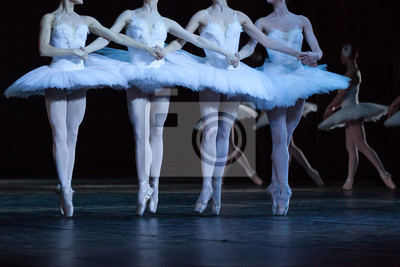 Tanzen, kultur, choreographie konzept. Vier schlanke und anmutige Ballerinen, die in Kostümen mit schneebedeckten weißen Federn gekleidet sind und den weltberühmten Tanz der kleinen Schwäne ausführen