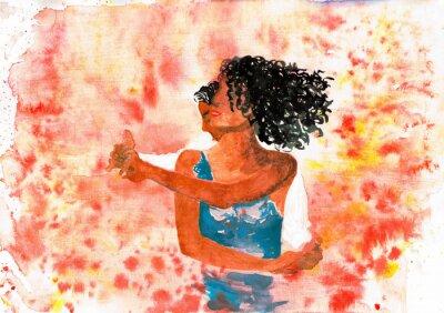 Bild Tanzende Paar. Aquarell-Illustration