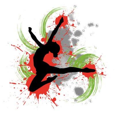 Bild Tänzerin vor buntem Hintergrund mit Farbspritzern