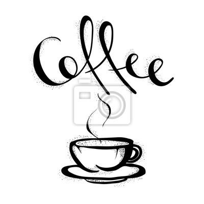 Tasse Kaffee Hand Gezeichnete Schwarze Illustration Kaffeetasse