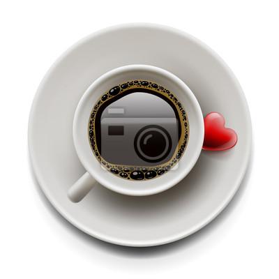 Tasse Kaffee mit Herz auf dem Teller, vector eps10 Bild