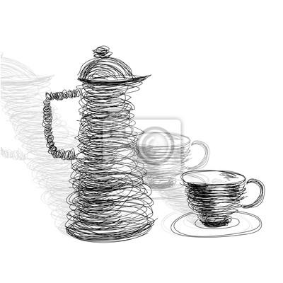 Tasse Tee mit Teekanne