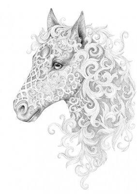 Bild Tattoo, beautiful horse head with a mane