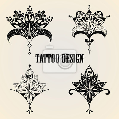 tattoo design elements gem lde f r die wand bilder monochrome verpackung tattoo. Black Bedroom Furniture Sets. Home Design Ideas