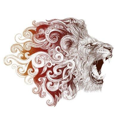 Bild Tattoo Kopf grinst Löwe