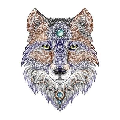 Bild Tattoo Kopf Wolf wilden Raubtier