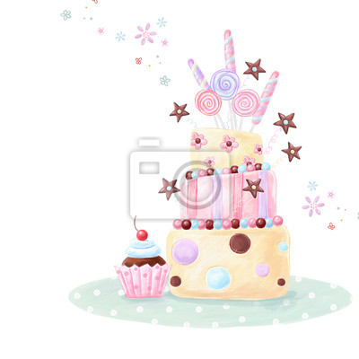 Super Tea Time Design Birthday Cake Happy Geburtstag Leinwandbilder Personalised Birthday Cards Veneteletsinfo