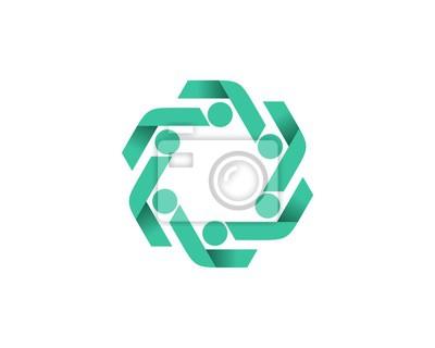 Team-arbeitskonzept logo-vorlage 3 leinwandbilder • bilder ...
