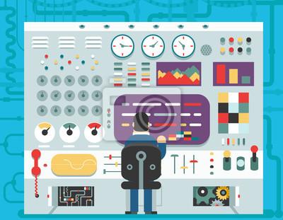 Bild Technologie-Bedienfeld Armaturenbrett System Schalter Schaltfläche Anzeige Analyse Produktion Entwicklung Studie flache Design Konzept Vektor-Illustration