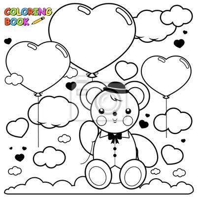 Teddybar Und Herz Ballons In Den Himmel Ausmalbilder Buch Seite
