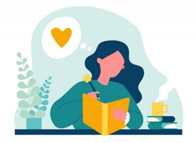 Bild Teenage girl writing diary or journal. Happy young woman reading book and taking notes with pencil. Vector illustration for journal, author, student, teenager in love concept