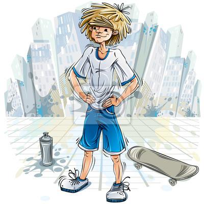 Teenager-Jungen mit Spraydose und Skateboard.