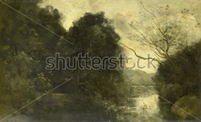 Bild Teich im Wald von Camille Corot, 1840-75, französische Malerei, Öl auf Holz.