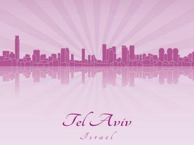 Bild Tel Aviv Skyline in lila Orchidee strahl