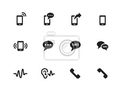 Telefon-Icons auf weißem Hintergrund.