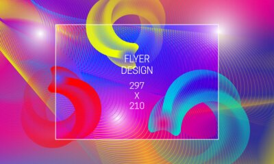 Template for flyer abstract backdrop generation. Vector vibrant background with annular translucent shapes and colorful guilloche elements
