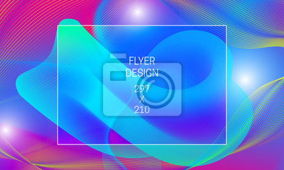Template for flyer abstract backdrop generation. Vector vibrant background with floating liquid translucent shape and colorful guilloche elements.