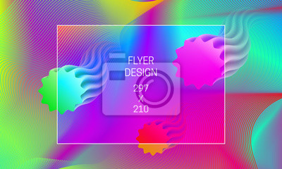 Template for flyer abstract backdrop generation. Vector vibrant background with floating translucent shapes and colorful guilloche elements.