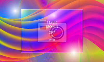 Template for flyer abstract backdrop. Vector vibrant background with liquid translucent shape and colorful guilloche elements.