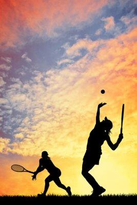 Bild Tennis bei Sonnenuntergang