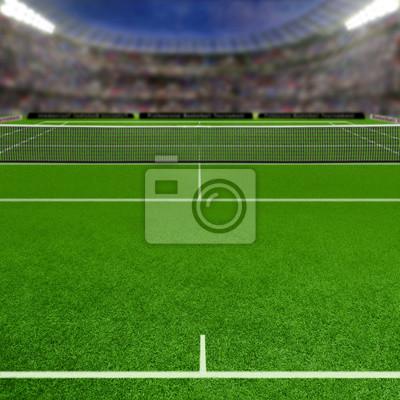 Tennis Gras Gericht Fulll von Zuschauern und Textfreiraum