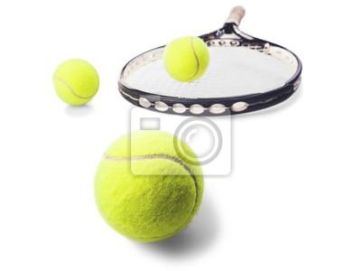 Tennisbälle oben auf einen Tennisschläger