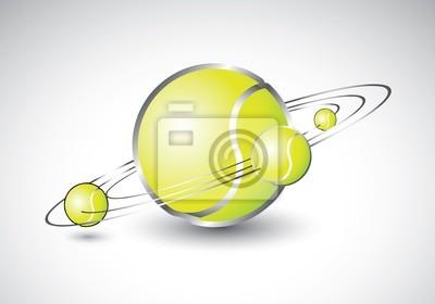 Tennisbälle wie Sonnensystems geformt
