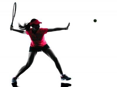 Bild Tennisspielerin Traurigkeit silhouette
