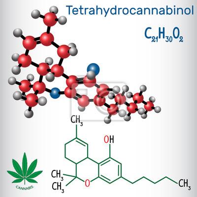 Bild Tetrahydrocannabinol Thc Strukturelle Chemische Formel Und