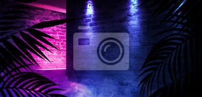 Bild The background is an empty corridor. Tropical leaves in a dark room. Brick walls, neon rays and glov. 3D rendering