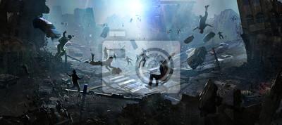 Bild The doomsday scene of a catastrophe, digital illustration.