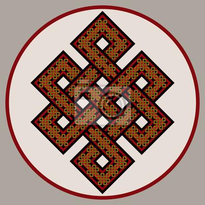 The Endless Knot. Heiliges Symbol der Verkettung der Wiedergeburt im Buddhismus. Vektor, getrennt Hintergrund.