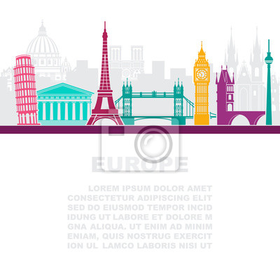 The layout of the leaflets with the sights Europe and place for text