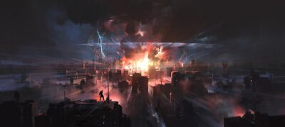 Bild The moment the city was hit by a nuclear bomb, digital painting.