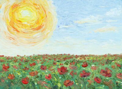 Bild The sun over poppy field, painting, oil on canvas