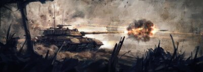 Bild The tank is in battle, firing at the enemy. (Concept Art, Digital Paint)