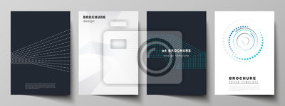 Bild The vector illustration of the editable layout of A4 format cover mockups design templates with geometric background made from dots, circles for brochure, magazine, flyer, booklet, annual report.