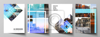 Bild The vector layout of A4 format modern cover mockups design templates for brochure, magazine, flyer, booklet, annual report. Creative trendy style mockups, blue color trendy design backgrounds.