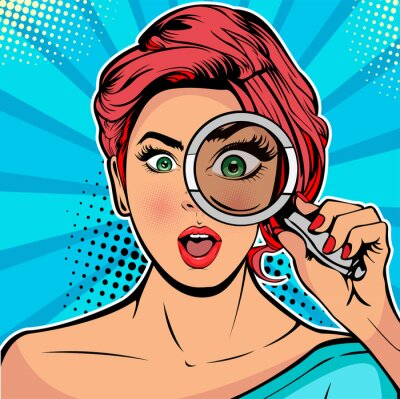 Bild The woman is a detective looking through magnifying glass search. Vector illustration in pop art retro comics style