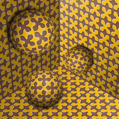 Three spheres move in corner. Optical illusion abstraction of cruciform shapes pattern.