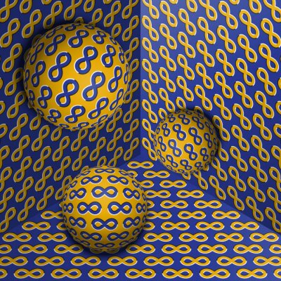 Three spheres move in corner. Optical illusion abstraction of infinity symbols pattern.
