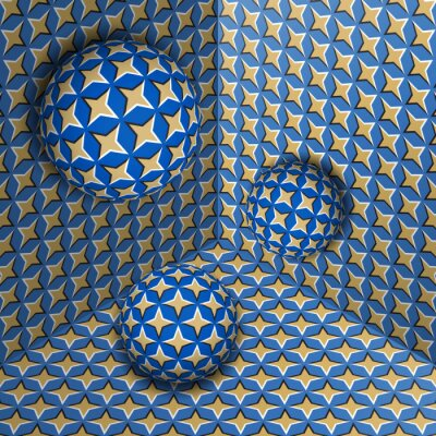 Three spheres move in corner. Optical illusion abstraction of starry pattern.