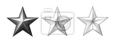 Bild Three style of vintage engraving Christmas star isolated on white BG